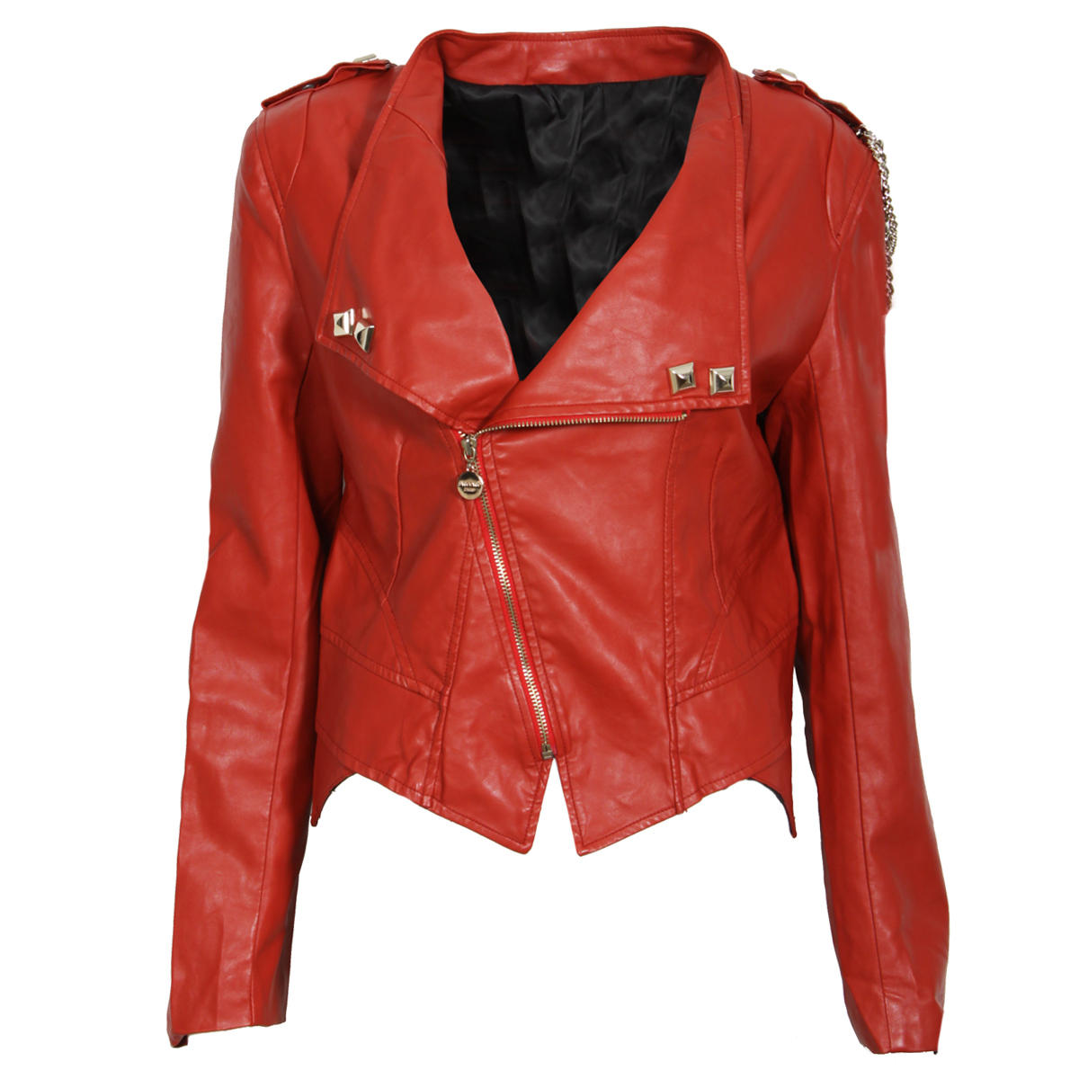 Red Chain Leather Look Biker Jacket Preview